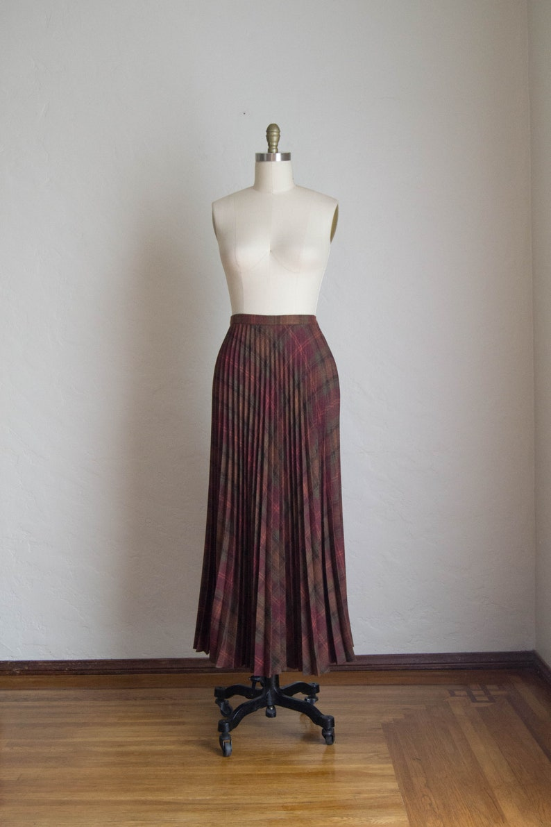 b89a27f99285 Vintage Long Accordion Pleated Skirt/ Maxi Pleated Skirt/ Wool | Etsy