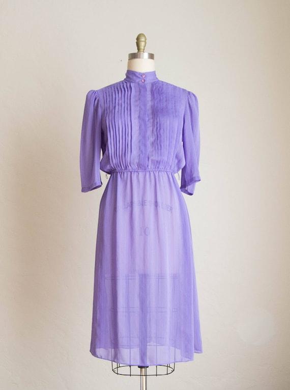 Vintage 80's Lavender Sheer Pinstriped Secretary D