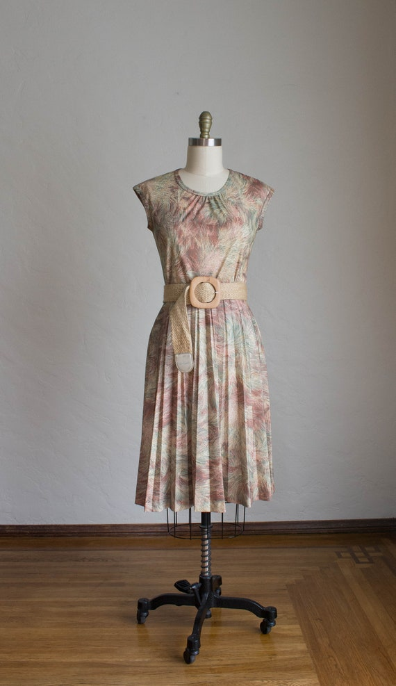 1970's 3 Piece Skirt Set/ Abstract Floral Print S… - image 4
