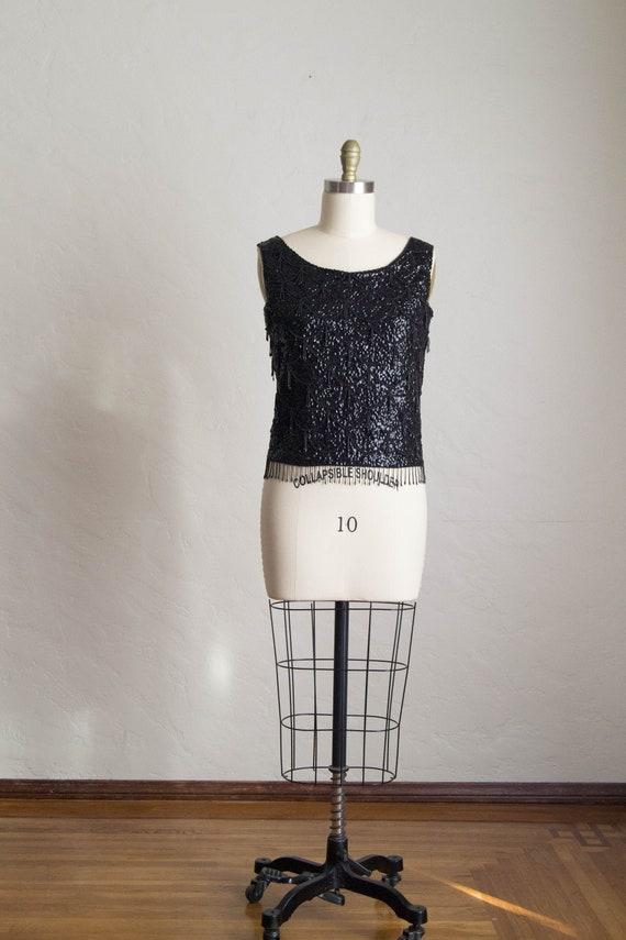 Vintage 50's Sequin Tank Top/ Formal Dress Top/ Vi