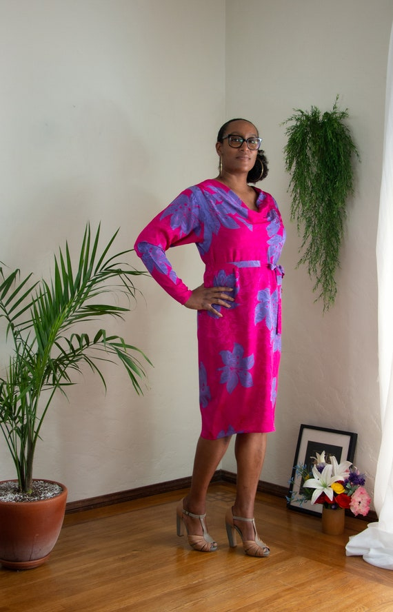 Vintage 80/'s Colorblock Silk Dress Wedding Party Purple And Pink Size 6