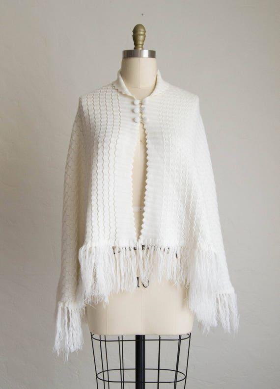 Winter White 70's Style Acrylic Cape Sweater