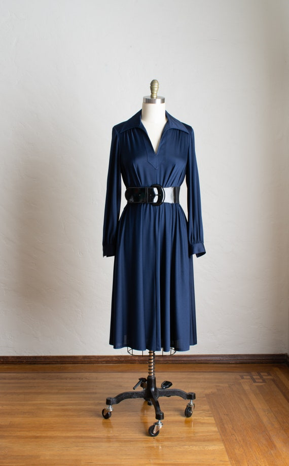 70's Silky Soft Navy Blue Long Sleeve Swing Dress/
