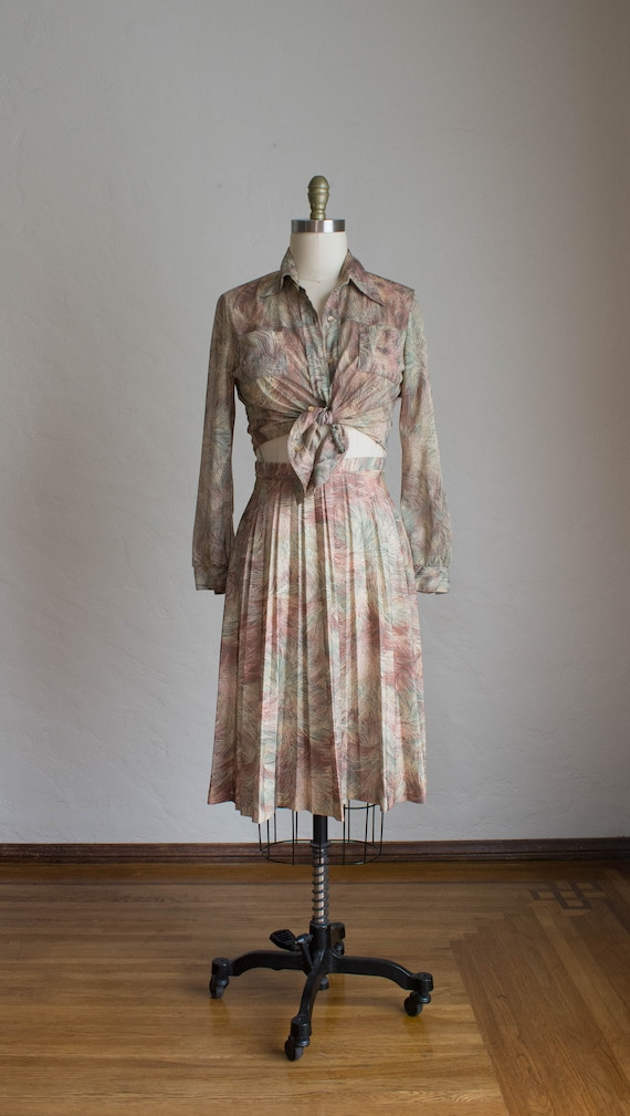 1970's 3 Piece Skirt Set/ Abstract Floral Print S… - image 2
