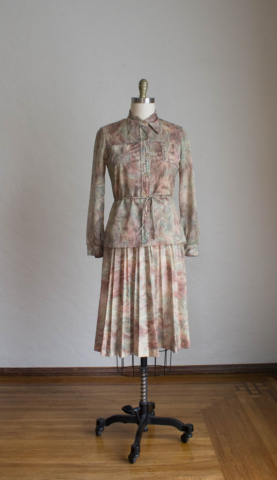 1970's 3 Piece Skirt Set/ Abstract Floral Print S… - image 5