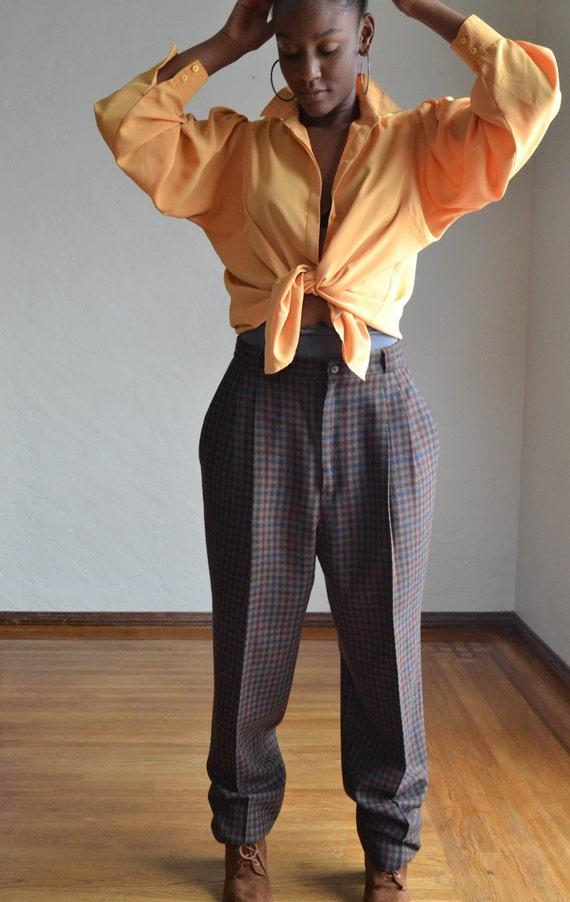 Vintage 80's High Waist Baggy Pants/ Vintage Plai… - image 1