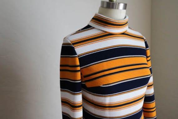 60's Navy Blue, Orange & White Striped Polyester/W