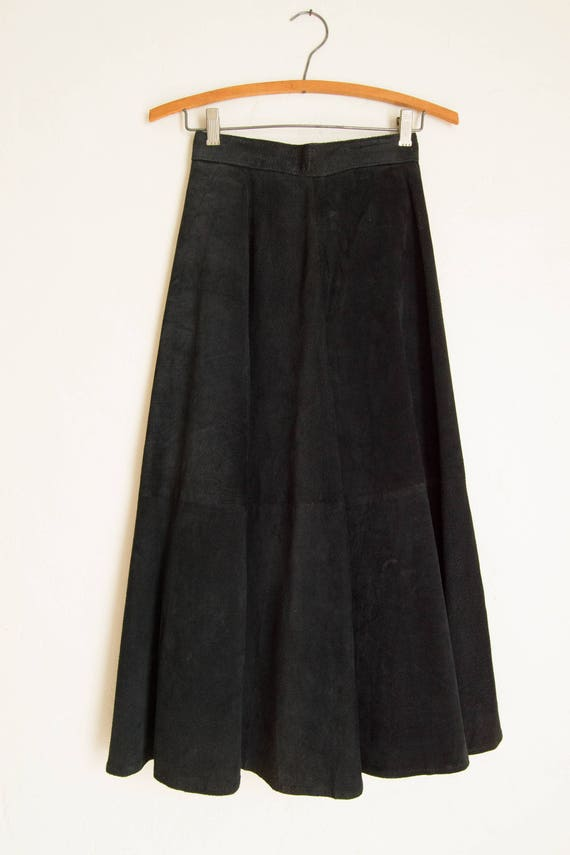 Vintage Long Black Suede Circle Skirt