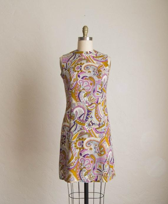 60's Purple & Brown Paisley Print Shift Dress - image 1