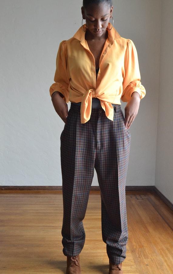 Vintage 80's High Waist Baggy Pants/ Vintage Plai… - image 6