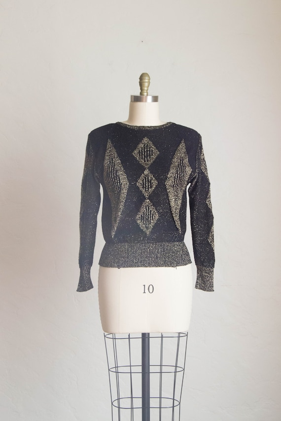 Vintage 1980's Sweater/ Gold & Black Sweater/ Dres