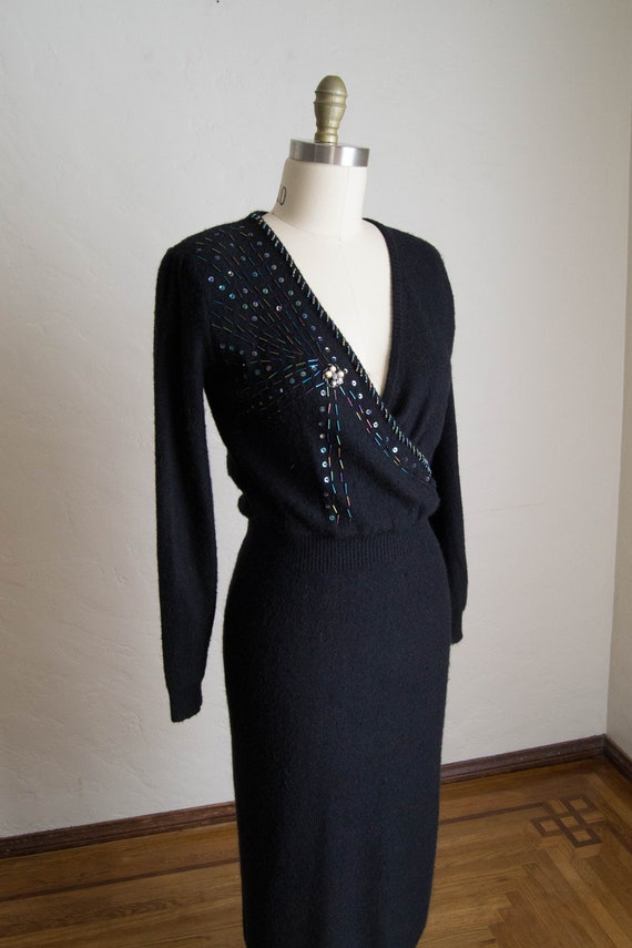 Vintage 80's Black Knit Dress/ Vintage Beaded Knit