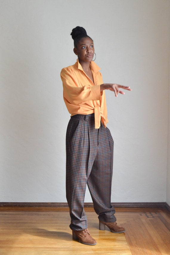 Vintage 80's High Waist Baggy Pants/ Vintage Plai… - image 4