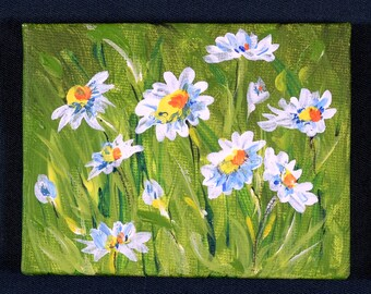 The Little Beautiful Blossoms Collection,daisy acrylic miniature painting, floral, gift, artwork on easel