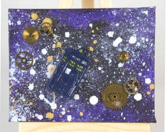 The Little Blue Box Collection. TARDIS, police box in space, Dr Who, acrylic painting, canvas on easel, gift, artwork, steam punk, sci-fi