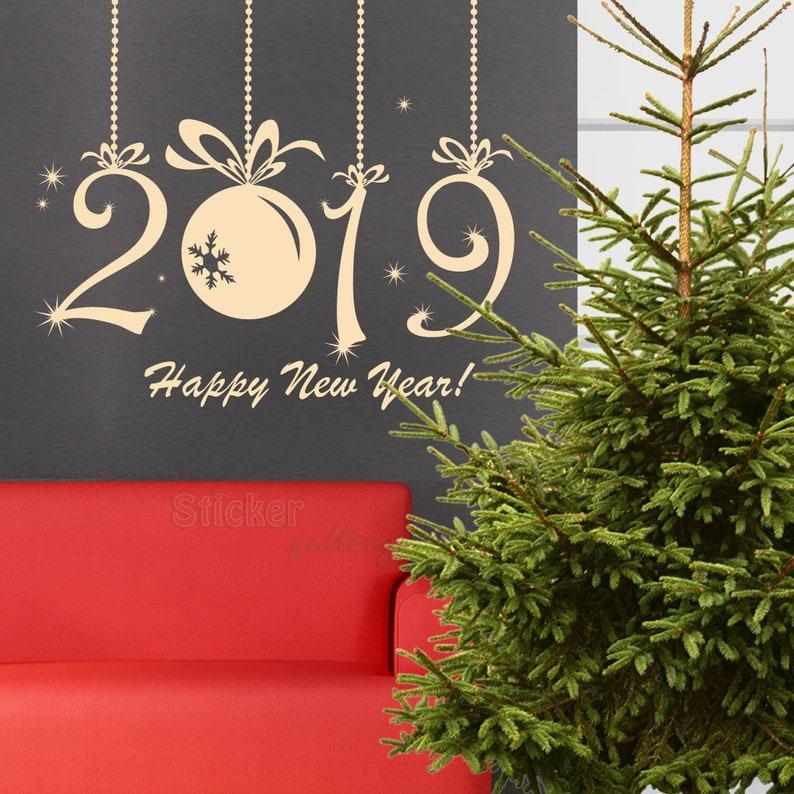 Kerst Venster Decal Gelukkig Nieuwjaar 2019 Kerst Display Etsy