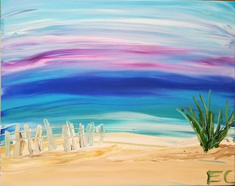 """Set of 10  5.5x4"""" cards with Emma's """"Beach"""" scene on the front, blank on inside."""