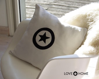 White linen with a star pillow cover
