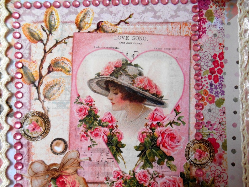 Carte Anniversaire Romantique.Grande Carte Anniversaire Shabby Chic Romantique Femme Etsy
