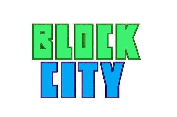 Applique bloc ville police, Alphabet complet, 3 tailles, 10 Formats