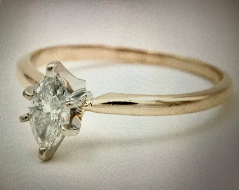 57fd475b34709 Certified Natural Marquise Diamond Solitaire Ring .66 CT. 14K | Etsy