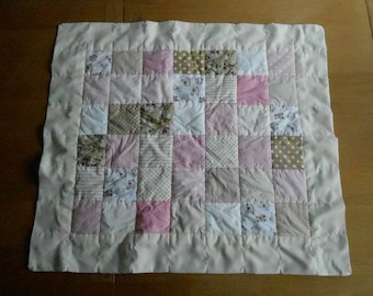 Patchwork Baby Blanket in Pink and Tan