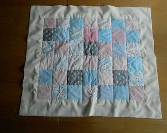 Patchwork Baby Blanket in Blue, Pink, Tan and Grey