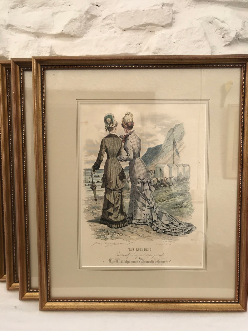 Victorian Hand-Coloured Engravings  Six Designs Available  The Englishwoman/'s Domestic Magazine  Buy all 6 get 1 FREE