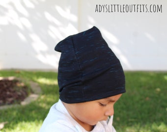 Black beanie-baby hat beanie- baby boy hat-slouchy beanie- newborn hat-  black and blue hat-infant hat-slouchy knit hat-fold over beanie 4e750dc10037