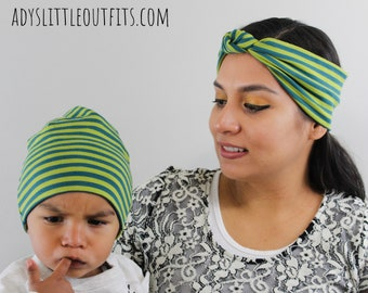 Green Striped mom and me hat set- mom and son matching hat- mom and me -  mom and baby boy- matching baby boy and mom 8404bba6ae10