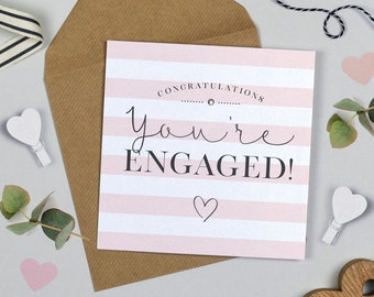 Candy Stripe Engagement Card