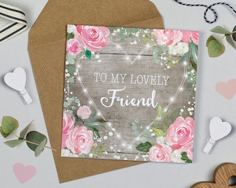 Floral Fairy Lights Friend Birthday Card