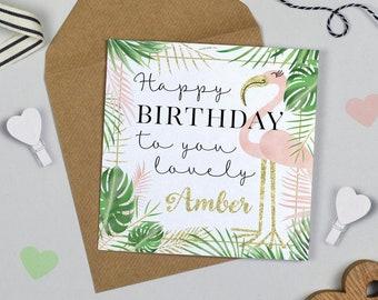 Personalised Flamingo Birthday Card