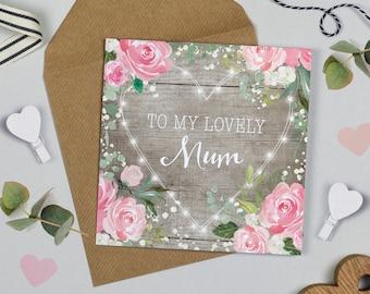 Floral Fairy Lights Mum Birthday Card