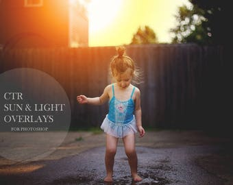 30 + Sun and Light Overlays for Photoshop, Sunflares & Color Overlay, Digital Overlays for Photographers, Instant Download!