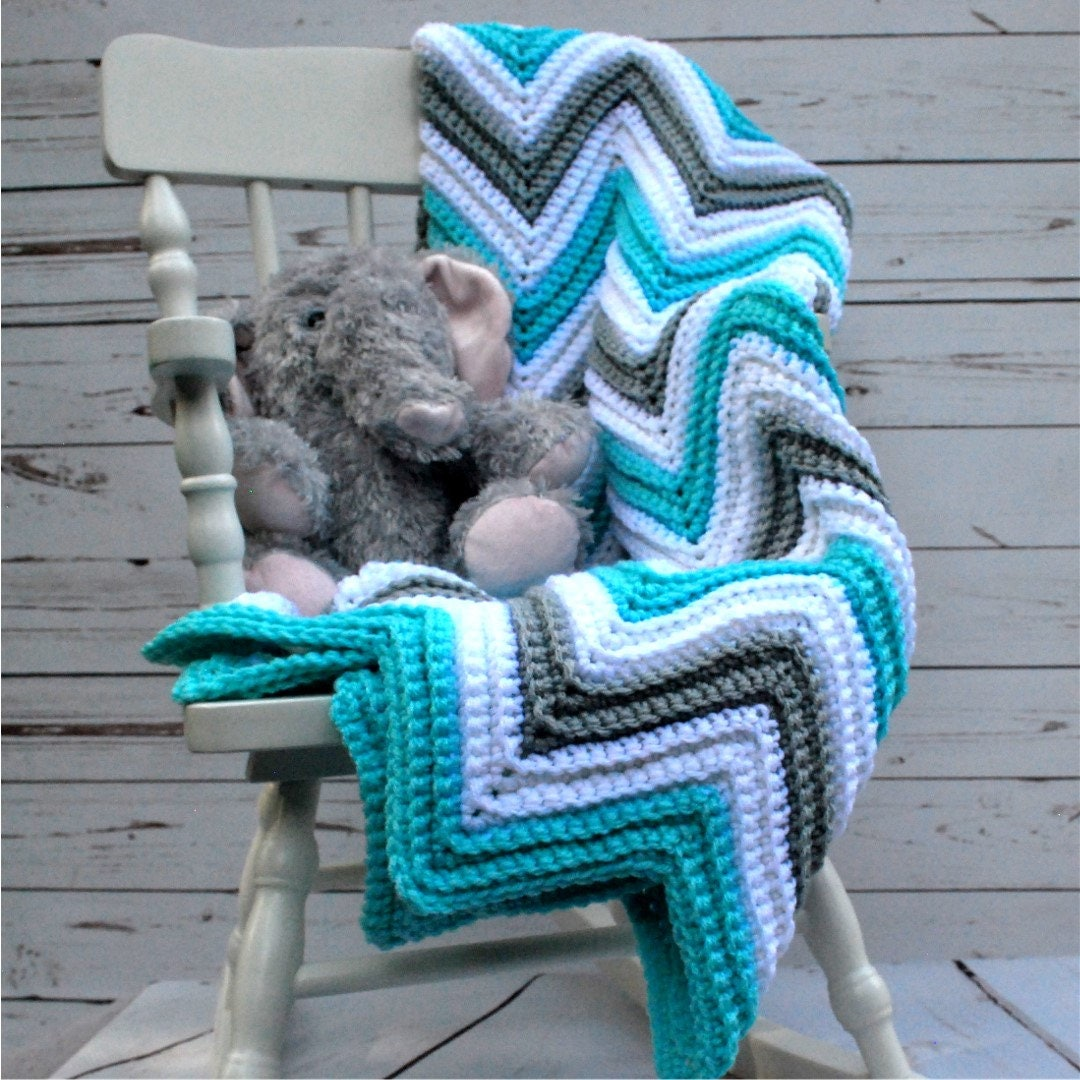 Crochet Chevron Baby Blanket Crochet Chevron Afghan Baby Shower