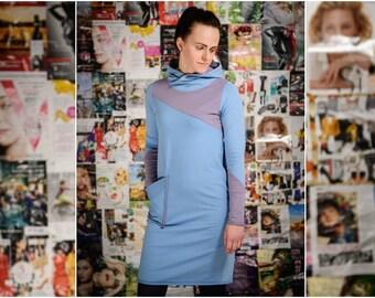 b4627abfafff Sweatshirt dress Light blue hooded dress Cotton jersey dress Long sleeve  dress Everyday active wear Dress with pocket Casual street style