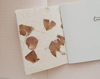 Rose Petal Paper Notebook / Handmade Journal / Natural Paper Journal / Passport Size / Flower Paper