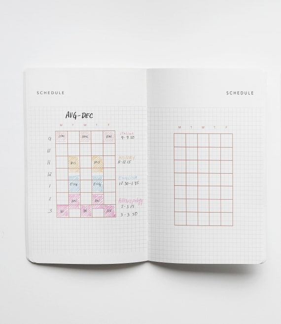 graphic relating to Printable School Schedule referred to as University Timetable Distribute / 1 increase web page University Planner / Minimalist Printable Bullet Magazine