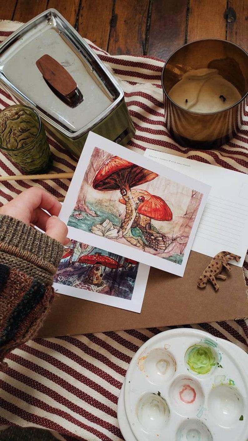 Mushroom Postcard Set of 3  Watercolor Art Cards  Fall Woods