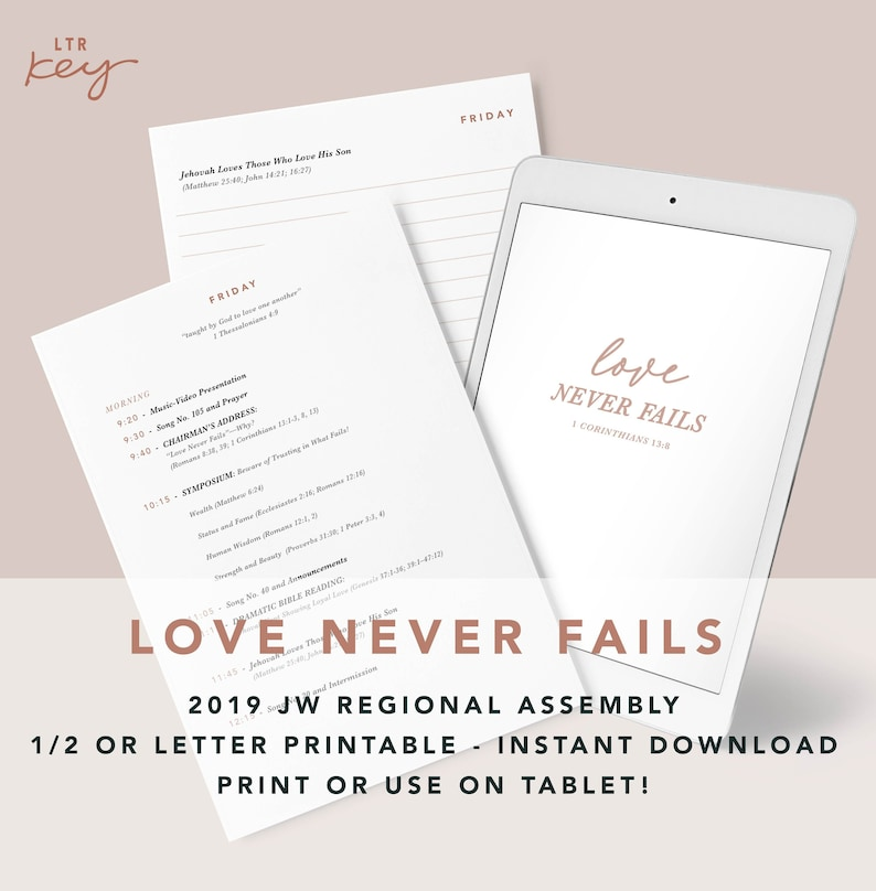 Love Never Fails / 2019 Regional Assembly Notebook / JW Convention / JW  Gifts / Note Tablet Digital PDF Download Print at home