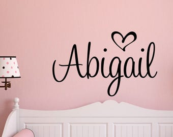 Wonderful Name Decal Personalized Name Decals Heart Name Custom Wall Decal Nursery  Decor