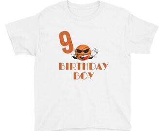 9 Year Old Basketball Birthday Boy Youth Short Sleeve T-Shirt