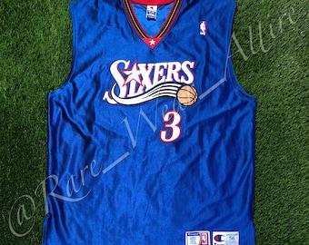 75a483c8ff7 NBA Jersey Philadelphia 76ers Sixers Allen Iverson Champion Authentic Size  56   3XL Vintage Blue Alternate Style