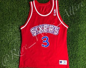 7f8396869 NBA Jersey Philadelphia 76ers Sixers Allen Iverson Champion Size 44 L  Vintage Throwback Ai Black