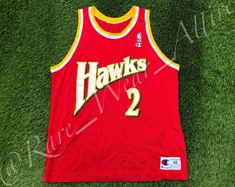 39d4f7e60 NBA Jersey Atlanta Hawks Stacey Augmon Champion Size 48 XL Rare Vintage  Throwback Red Wilkins 90s
