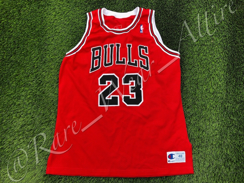 2ed309a0d86 NBA Jersey Chicago Bulls Michael Jordan Champion Authentic | Etsy