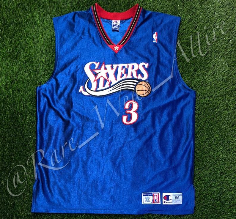 size 40 79ac5 02c35 NBA Jersey Philadelphia 76ers Sixers Allen Iverson Champion Authentic Size  56 / 3XL Vintage Blue Alternate Style