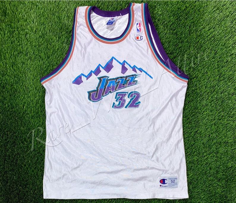 check out ebfdd 1c483 NBA Jersey Utah Jazz Karl Malone Champion Size 52 Vintage Throwback Home