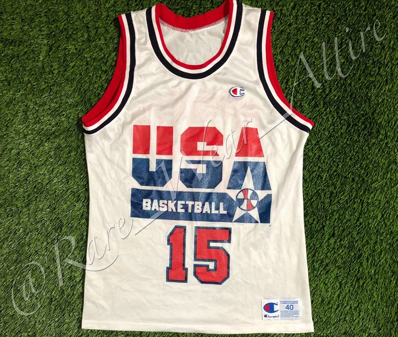 64f88a00490 NBA Team USA Dream Team Jersey Magic Johnson Champion Size 40 | Etsy